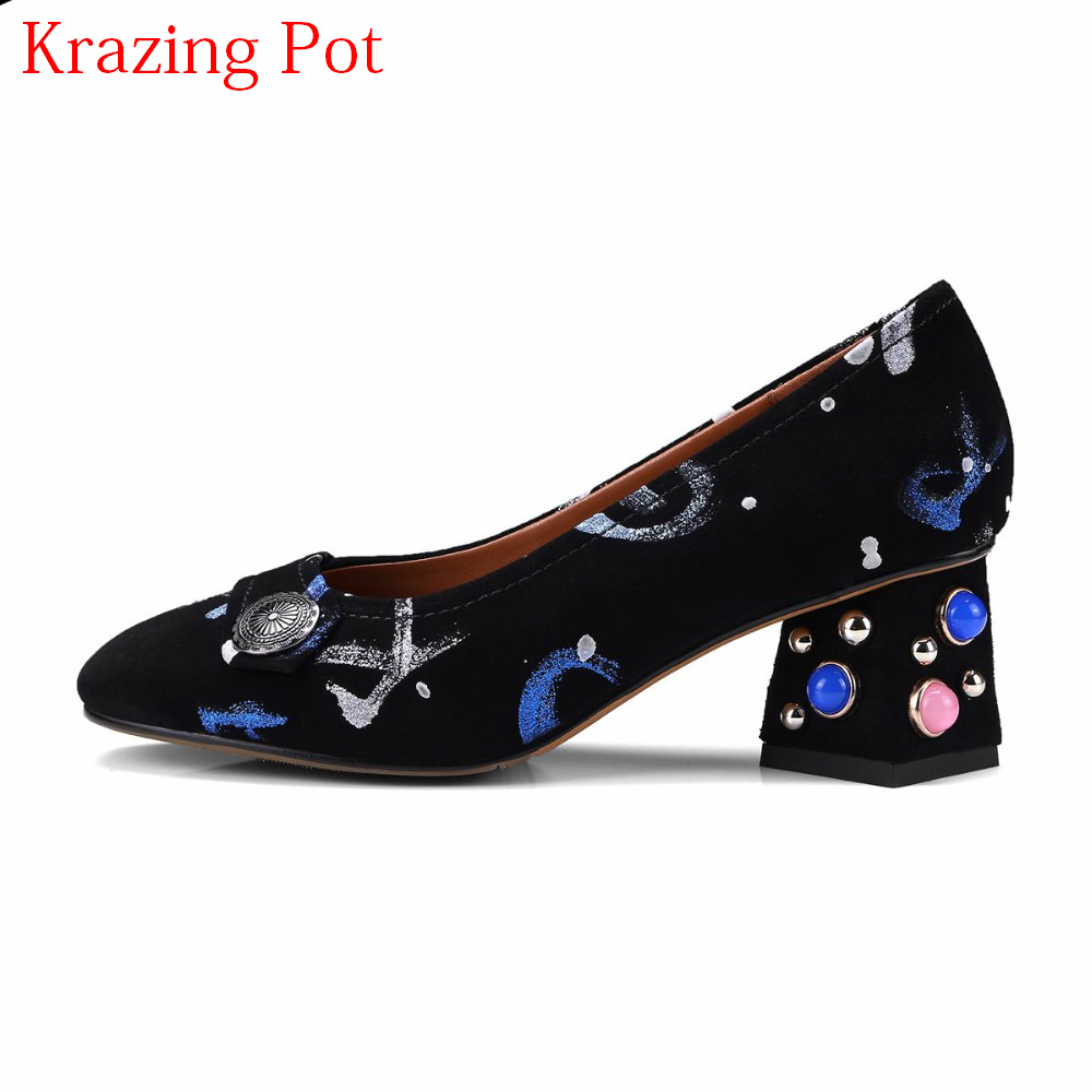 Sheep Suede Strange Style High Heels Rivets Shallow Mixed Colors Pattern Women Pumps Round Toe Slip on Elegant Brand Shoes L01 2017 shoes women med heels tassel slip on women pumps solid round toe high quality loafers preppy style lady casual shoes 17