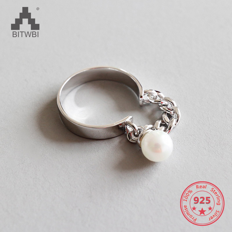 925 Sterling Silver Open Rings Chain With Pearl Fashion Silver Jewelry for Women Adjustable Ring