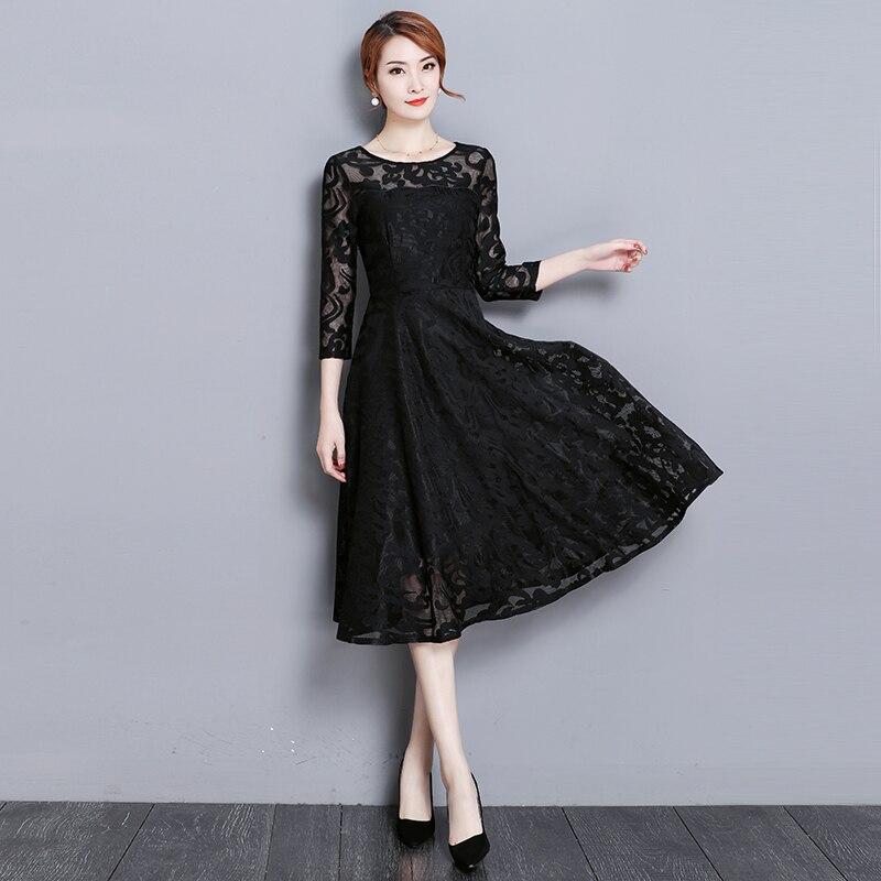 2018 été grande taille 4XL 5XL femmes dentelle robe bleu noir rouge a-ligne robes de mode vêtements hauts