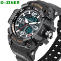 Top D-ZINER Brand Fashion Dual Time Quartz LED Digital Watch Men Waterproof Sports Military Wrist Watches Relogio Masculino 8143