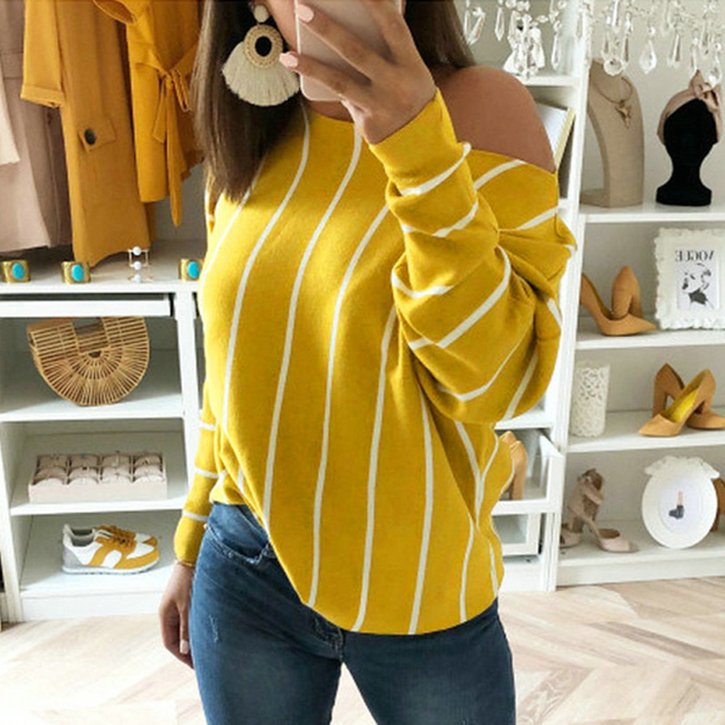 Striped T shirt Women Loose Long Sleeve Sexy Off shoulder Cotton T-shirt Stripes Femme Casual TShirt Tops