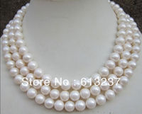 hot free Shipping new 2015 Fashion Style diy 9 10MM AAA NATURAL PERFECT ROUND SOUTH SEA WHITE PEARL NECKLACE 50 MY4558