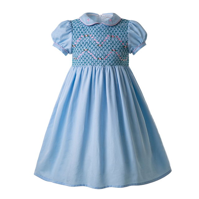 8c6281da0 Pettigirl Blue Doll Collar Smocked Outfits Cheap Smocked Dresses Smocked  Dress For Infants Boutique Kids Clothing G-DMGD109-C96