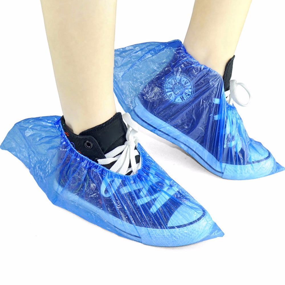 100PCS Disposable Dustproof Plastic Shoe Covers Universal Portable Shoe Wraps Bags Waterproof Overshoes Boots for Dust-Free Computer Rooms Laboratories Sample Room Home Exhibition Hall