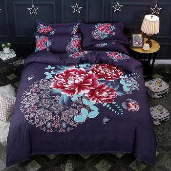 New  4 Pcs Polyester fabric Bedding Set. Traditional Chinese .King Queen size  Duvet cover, Bed sheet set, pillowcase
