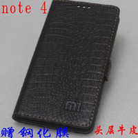 トップ品質100%牛本革カバースリムフリップ電話スキンケース用xiaomi hongmi redmi nota 4