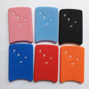 Silicone Smart Key Card Case Fit For Renault Koleos Megane Scenic Clio Logan 4 Butto Keycard Holder Cover(China)
