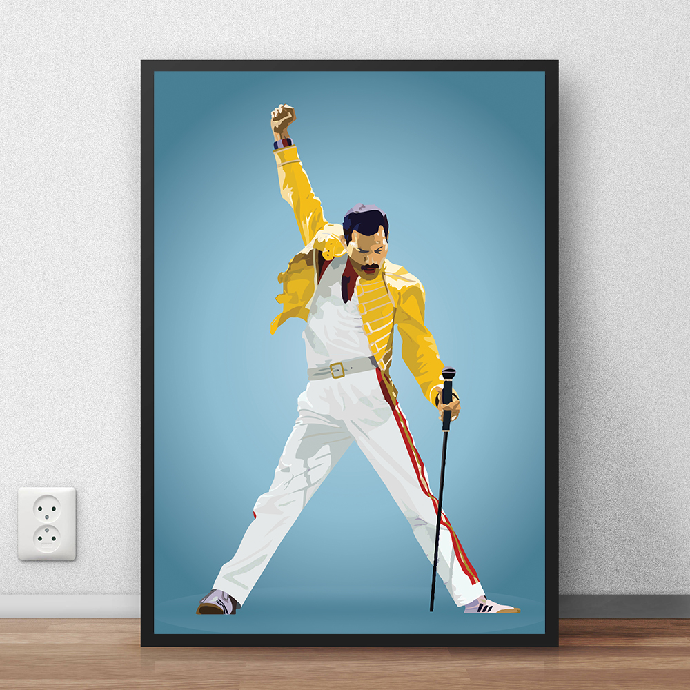 freddie mercury poster queen glossy picture hd canvas painting print bedroom home decor modern wall art oil painting framework