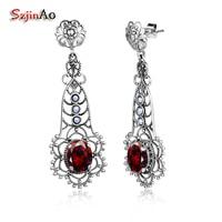 Szjinao Dragonfly Shape Long Ethnic Earrings Garnet Real 925 Sterling Silver Earrings Natural Pearl Jewelry bijoux femme