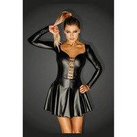 2017 Sexy Women Erotic Mini Dress Faux Leather Hook Backless Long Sleeve Flounced Nightclub Wet Look