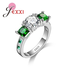 JEXXI  New Fashion Real Silver 925 Top Quality AAA+ CZ Diamond Cubic Zircon Rings For Women/Girls Wedding Engagement Jewelry