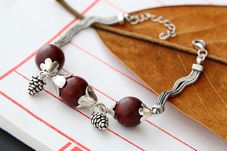 925 sterling silver bracelet hand-inlaid natural leaflet rosewood Thai silver bracelet