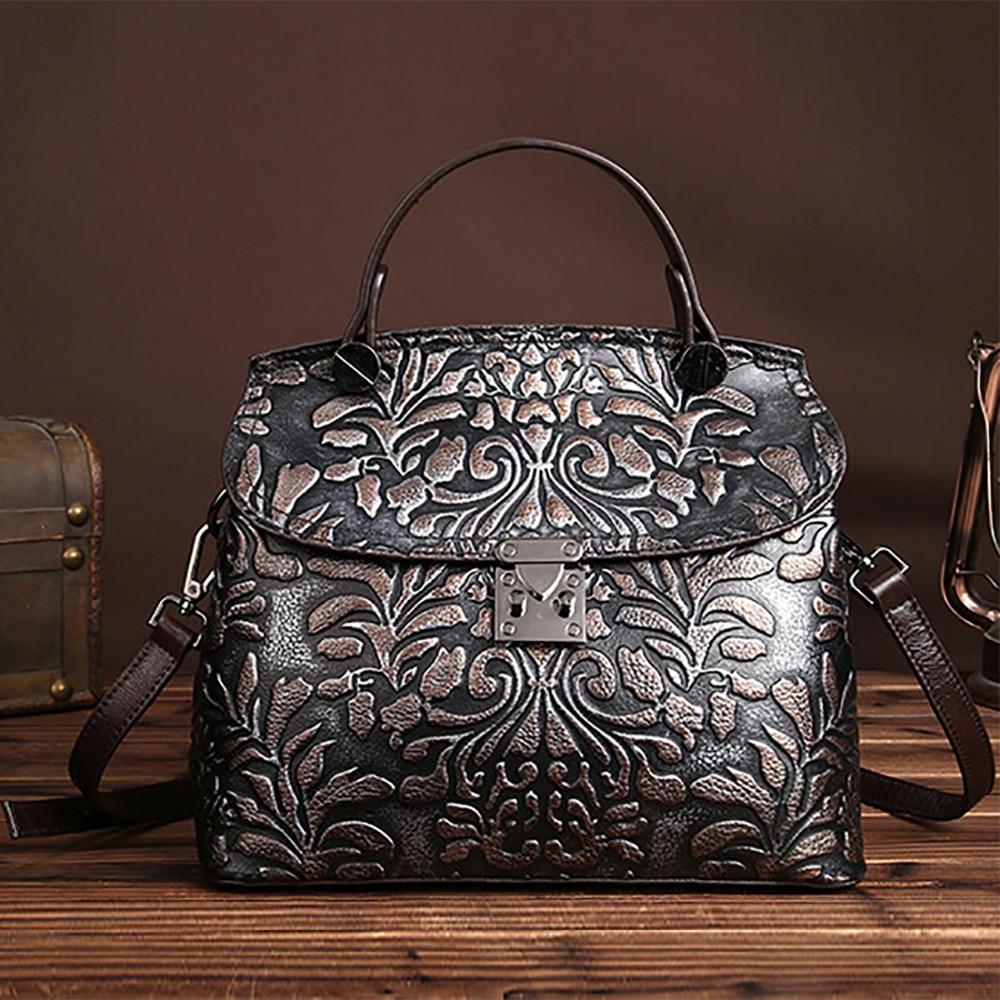 New Arrival Women Genuine Embossed Leather Luxury Handbag Famous Designer Brand Female Tote Bags Sling Shoulder