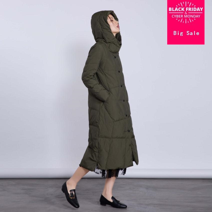 Winter fashion brand good quality X-long over the knee 90% duck   down     coat   female hooded warm   down   parkas wq139 dropship