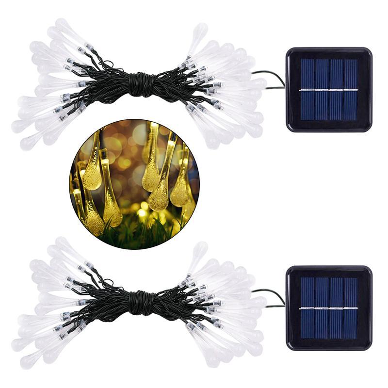 2 шт. 4,5 м 30 светодиодный солнечных батареях капли воды лампы Открытый огни строки (теплый белый)