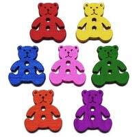 ZIEENE 1000 Adet Karışık 7 Renkler Dyeds Karikatür Pooh Ayı Ahşap Düğmeler DIY Dikiş Scrapbooking Çocuklar Için Giysi 18x17mm