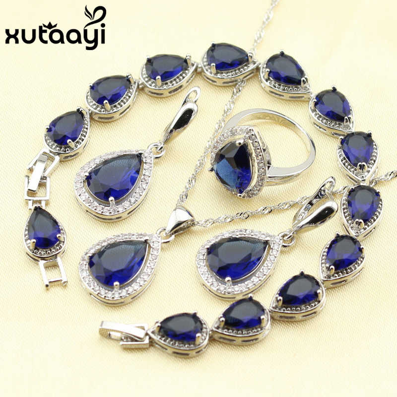 925 Silver Water Drop Wedding Jewelry Set For Women Blue Cubic Zirconia White Stones Bracelet Earrings Necklace Pendant Rings