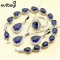 925 Prata Conjunto De Jóias de Casamento Para As Mulheres Da Gota Da Água Azul Sintético Anéis de Safira Topázio Branco Brincos Pulseira Colar de Pingente