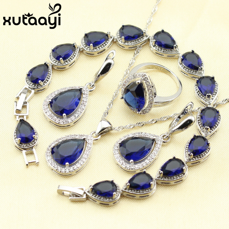 Jewelry Sets Jewelry & Watches Beautiful Beautiful Womens Blue Sapphire Cz 925 Silver Jewelry Set Necklace Earrings Rings