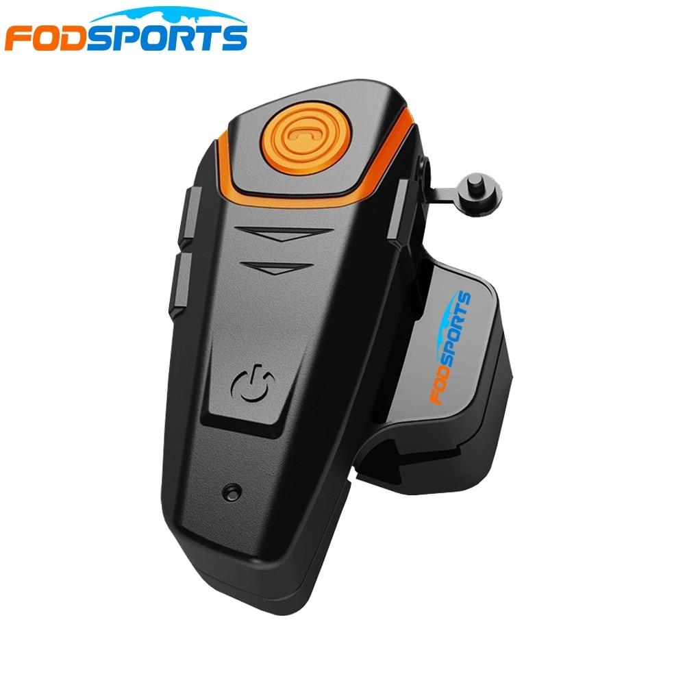 1 pc Fodsports Motocicleta Moto Fone De Ouvido Do Capacete do Bluetooth Interfone 1000 m À Prova D' Água IPX6 BT-S2 Moto BT Interphone FM Macio Mic