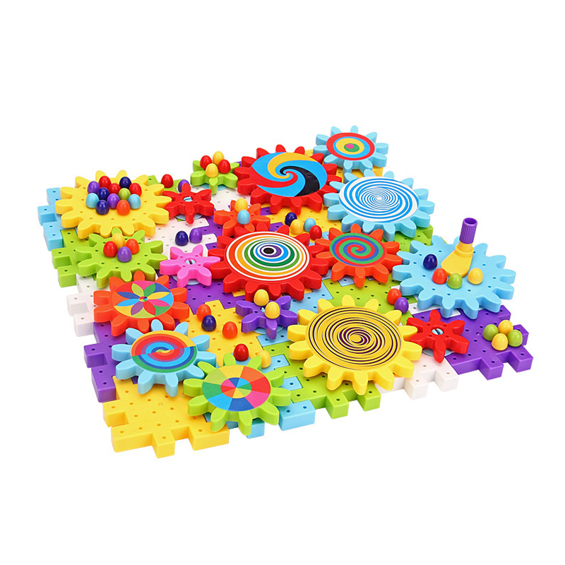 Children Baby Kids large particles rotating toys Gears Assembled 118pcs DIY Plastic kids ...