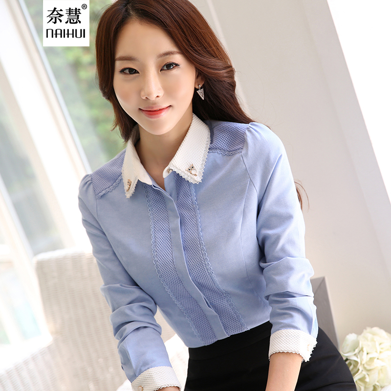 Women Cotton Shirt elegant White Blouse with accessories Female ...
