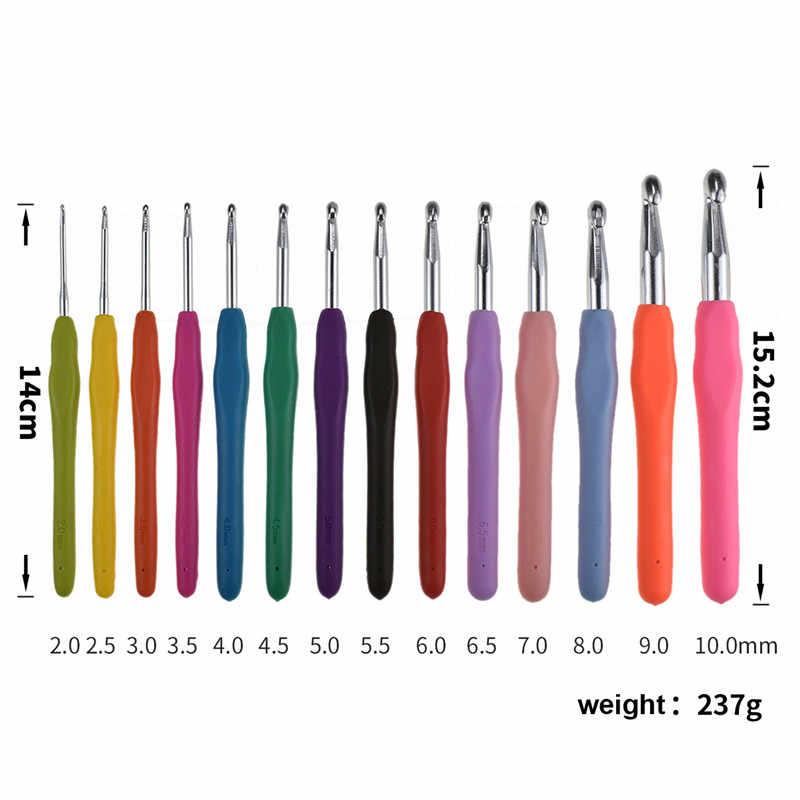 KOKONI 14 stücke Häkeln Nadeln Set 2,0-10,0mm Große Größe 9,0 10,0mm Weichen Griff Garn Weben Stricken nadeln Haken Für Stricken