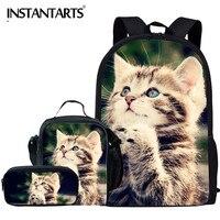 INSTANTARTS Teenager Girl Boy Mochila Backpack Schoolbag 3pcs Set Cute Pretty Cat Animal Student Daily School Bag Kid Backpacks