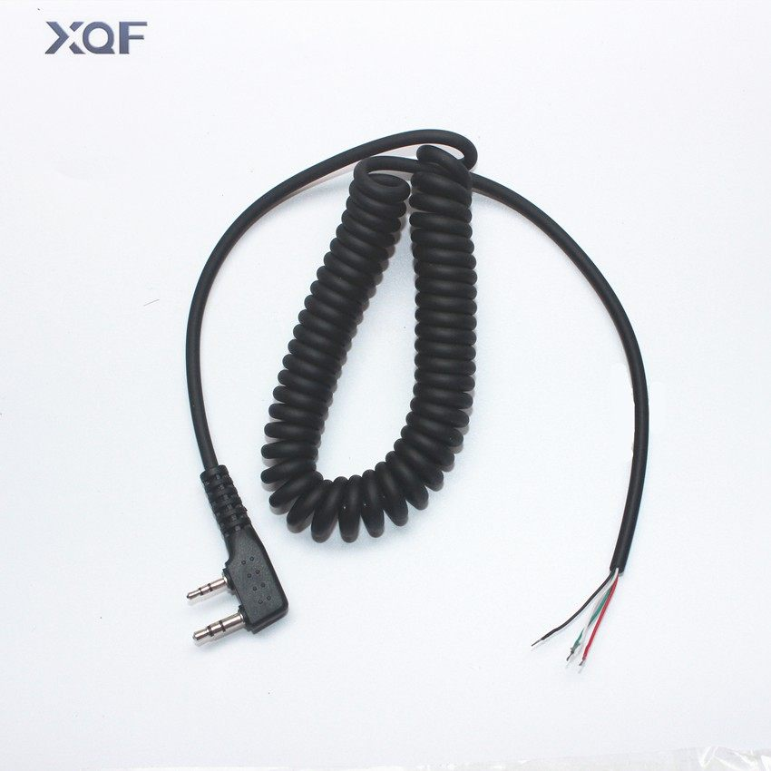 DIY 4wire microphone cable K plug 2pins for kenwood wouxun baofeng puxing linton tyt quansheng walkie talkie