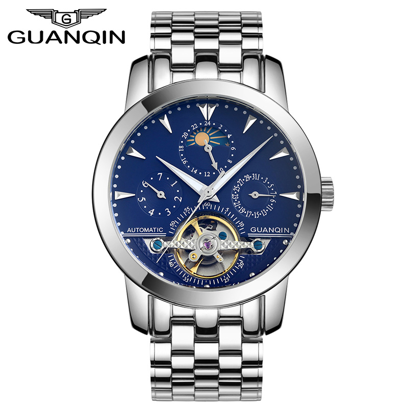 GUANQIN GQ10028 Tourbillon Mens Watches Skeleton Style Wristwatch Automatic Mechanical Luxury Brand Leather Strap Reloj Hombre new guanqin mens watches top brand luxury tourbillon skeleton men sport leather strap waterproof automatic mechanical wristwatch