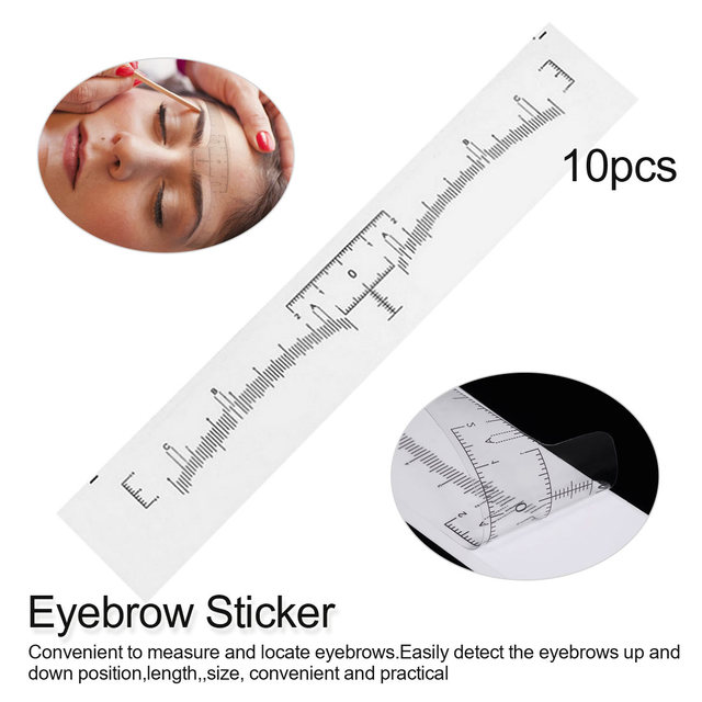 10pcs Disposable Eyebrow Large Ruler Microblading Accessories Tool Measurement Mark Permanent Makeup Sticker Tattoo Tool Kit 1
