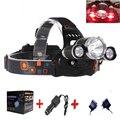 Wholesale 50pcs /Lot Boruit 3x XM-L XML T6 LED 6000 Lumens Headlight Light Head lamp Flashlight Headlamp +Charger DHL Shipping