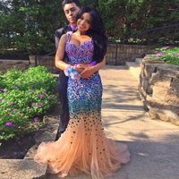 2018 Sexy 2 Piece Mermaid Fishtail Champagne Tulle with Purple Rhinestone Luxury Evening Prom gown Mother of the Bride Dresses