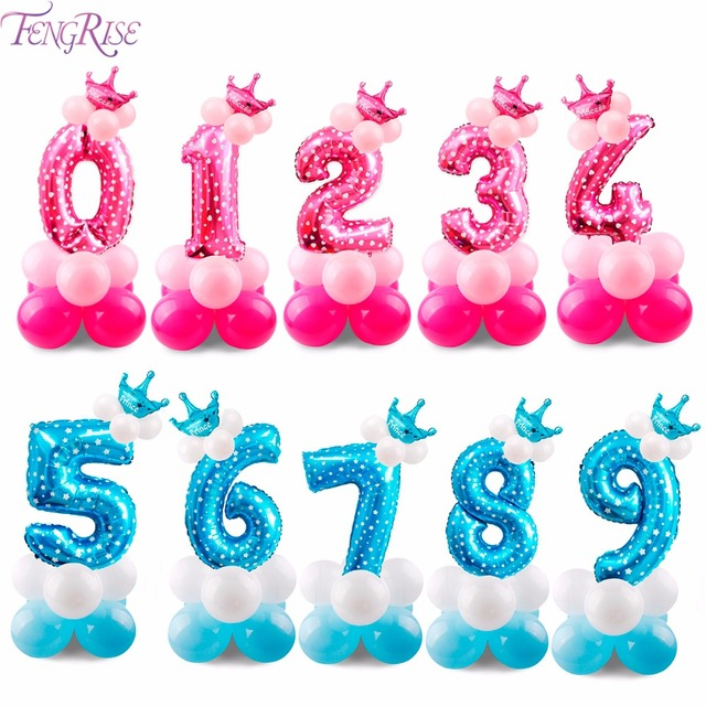 FENGRISE 17PCS Blue Pink Number Balloon 2nd 3rd 4th 5th 6th 7th 8th 9th 1st Birthday Balloons Party Decorations Kids