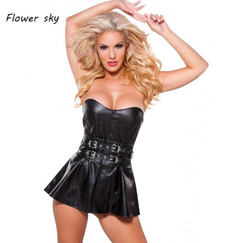 New Women Steampunk Faux Leather Waist Cincher zipper Bustier Top Corset Dress Overbust Sexy