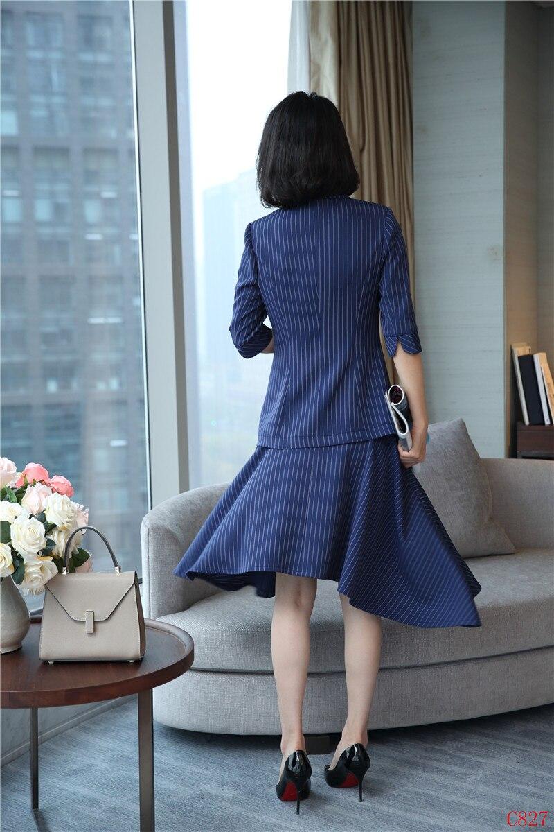 Rayé Dark Costumes Striped black Uniformes Blue Pièce Avec Ensembles Jupe Vestes Et Les Tops 2 Blazer Irrégulière Blazers Pour Mode Femmes D'affaires Wear Work Striped RwSEdR