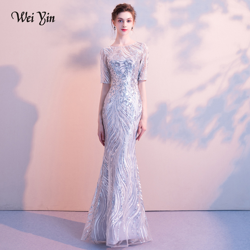 Detail Feedback Questions about weiyin 2018 O Neck Sequin Evening Dresses  Sexy Short Sleeve Mermaid Party Wear Long Formal Special Occasion Gown on  ... 42e85e48f77d