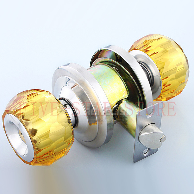 Unique High Quanlity Crystal Round Key Lock Bedroom Cylindrical Latch Door  Knob Locks