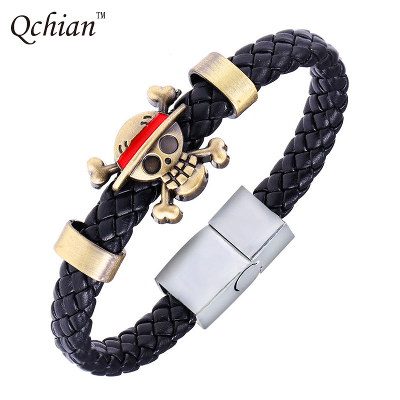 Hot Anime Luffy Alloy Bracelets One Piece Weave leather bracelet & Bangle cosplay jewelry