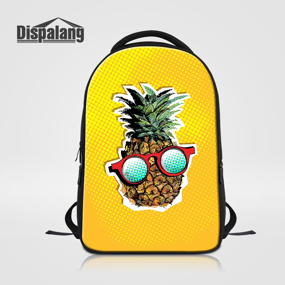 Dispalang Large Capacity Women Shoulder Bags Cute Yellow Pineapple Laptop Backpacks For College Girls Fruit Back Pack Schoolbags