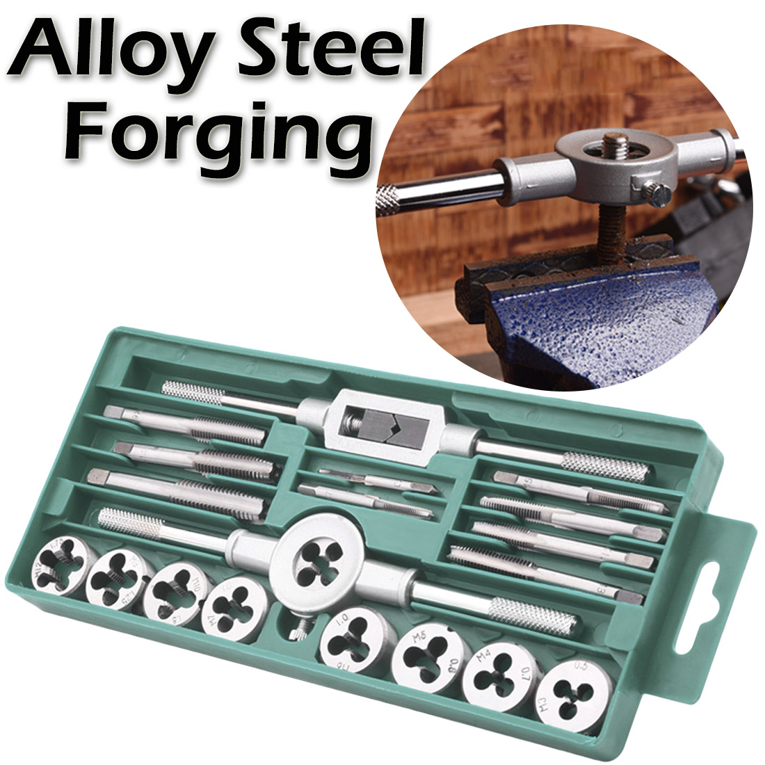Tap And Die Cutter Set 20pcs Alloy Steel Tap & Die Set With Small Tap Twisted Hand Tools 1/16-1/2 Inch NC Screw Thread Plugs Tap