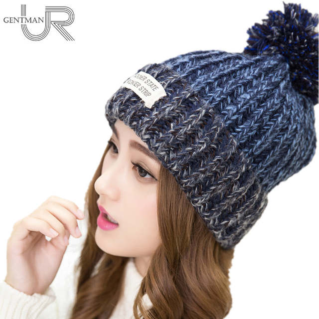 New Fashion Woman s Warm Woolen Winter Hats Knitted Fur Cap For Woman  Sooner State Letter Skullies 427e49cfc4ea