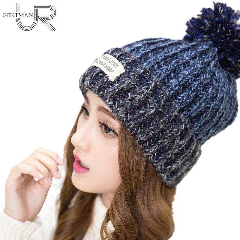 Nuevos sombreros de invierno de lana cálidos de mujer de moda gorro de piel de punto para mujer antes Skullies y gorros de letras del Estado 6 colores sombrero
