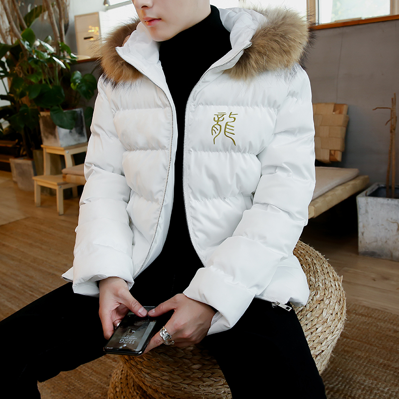Fashion Winter Warm Coats New Hooded Jacket Men Dragon Embroidery Casual   Parka   Thicken Cotton-padded Clothes Coat Men