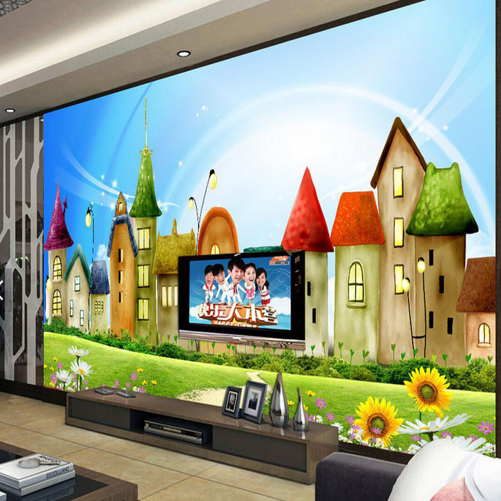 Kids Room Murals: Castle Carton Kids Bedroom Photo Wall Paper For Living