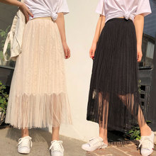 YICIYA black tassel skirt women plus size pleated ankle length long 2019 summer mesh tulle tutu tule rok skirts female clothing