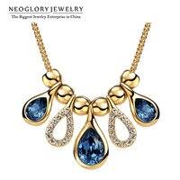 Neoglory MADE WITH SWAROVSKI ELEMENTS со стразами светло-желтого золота Цвет Колье для Для женщин jewelry Новинка 2017 года
