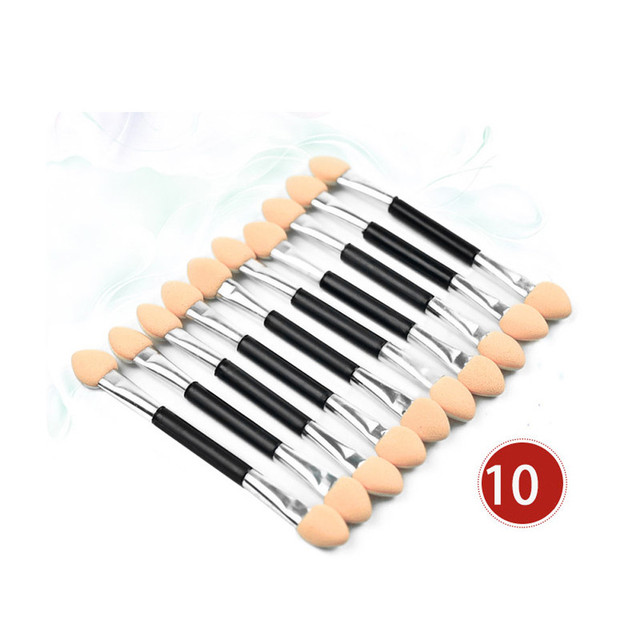 HOT SALE 10Pcs Makeup Double-end Eye Shadow Eyeliner Brush Sponge Applicator Tool cosmetic eyeshadow brush oct27