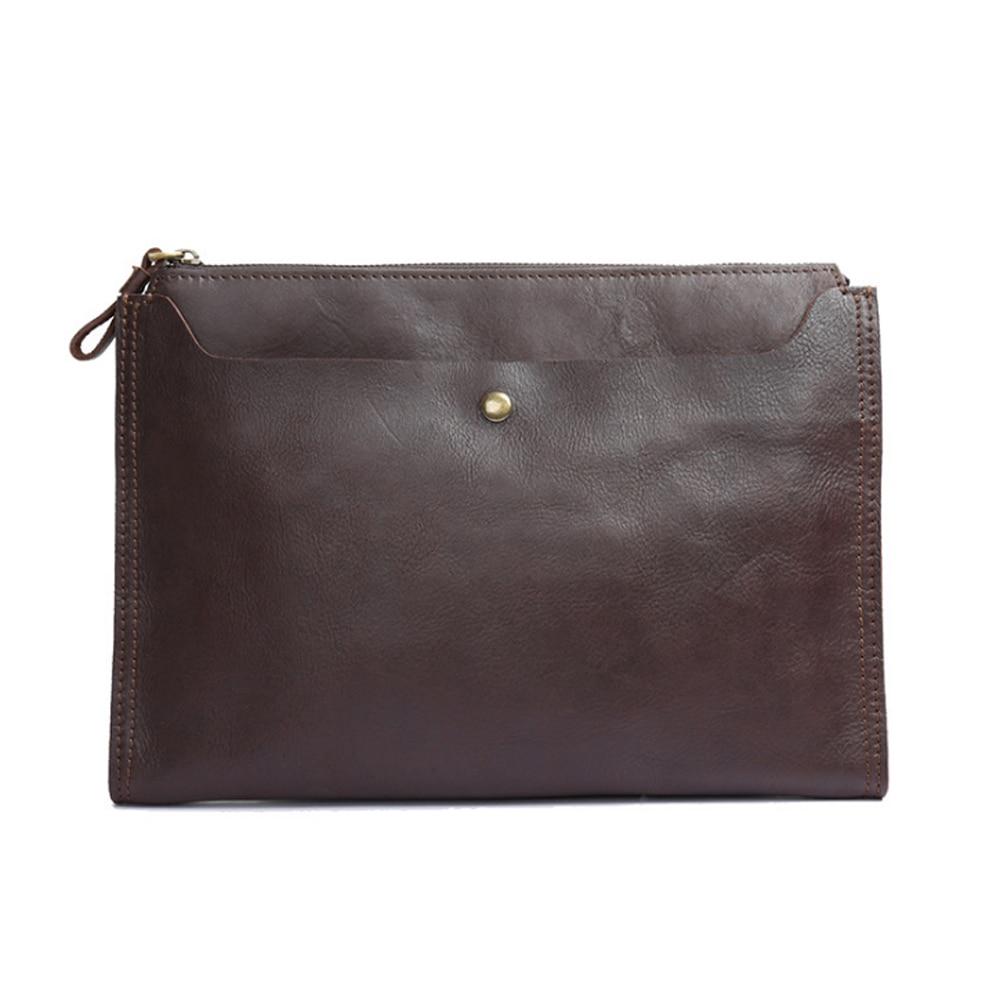 2018 nouveau sac à main en cuir véritable pour hommes mode sac à bandoulière simple marron foncé/marron fait à la main sac à bandoulière grande capacité
