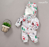 Autumn Baby Rompers Newborn Christmas Baby Girl Clothes Christmas Tree Printed Baby Boy Clothes Polar Fleece
